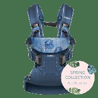 Эргономичный Рюкзак-кенгуру BabyBjorn ONE Cotton Mix, цвет Midnight blue/Leaf print