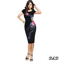 """Елегантна сукня """"Квіти - павича"""" L, фото 1"""