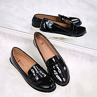 Туфли лоферы женские Tiana черный лак, женская обувь