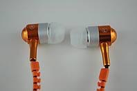 Наушники вакуумные проводные Змейка + Microphone (оранж) в блистере