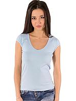 Голубая светлая футболка женская спортивная летняя однотонная без рисунка короткий рукав хб стрейч (Украина)