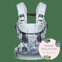 Эргономичный Рюкзак-кенгуру BabyBjorn ONE Cotton Mix, цвет Leaf print/Pale blue