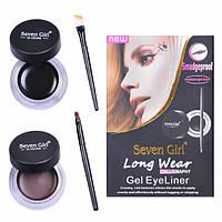 Подводка для глаз Seven Girl 2 в 1 черная + коричневая Код 20106