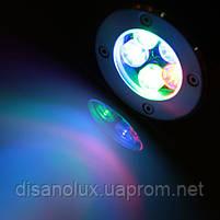 Светильник грунтовый LED QR-02  5W RGB 220V  IP65 размер 100мм*75мм, фото 3