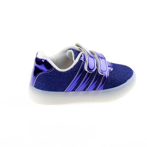 Кроссовки с мигалками, светящиеся, подошва с Led подсветкой , на батарейках, синие. р. 21 - 31, фото 2