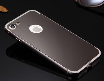 Черный чехол для iphone 7/8 алюминий+зеркальный акрил