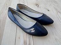 Женские чёрные балетки красивые модные с украшением - Chanel