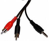 Аудио-кабель 3.5 jack*2RCA 1.5м  (в упаковке)
