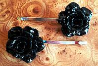 """Заколка-невидимка для волос """"Black Rose"""", черный."""