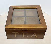 Деревянная шкатулка для чая на 4 отделения 68260