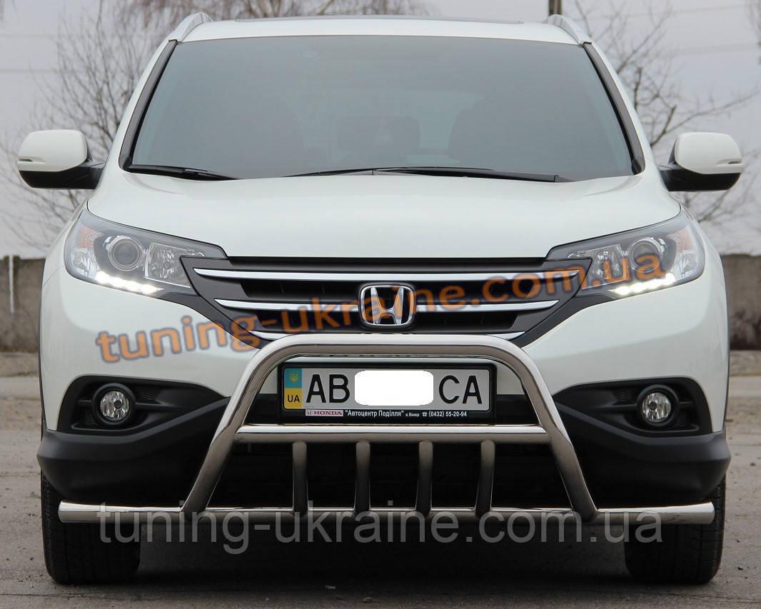 Защита переднего бампера кенгурятник с усами из нержавейки на Honda CR-V 2012-2015 - ООО Tuning Avto в Харькове
