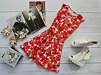 Красивое женское платье (юбка-солнце)  стильный принт: красные розы на белом