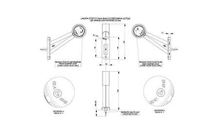Вынoсной габаритно-контурный фонарь LED, HOR 49, универсальный 12/24 V, бело-красный, на длинном рожке с углом наклона, левый, кабель 0,5 м, фото 2
