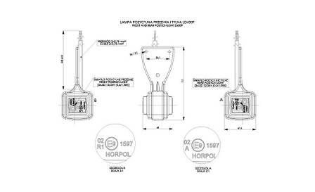 Диодный выносной, габаритный фонарь, квадратный  (красно/белый) с кабелем 0,5 м, 12/24 V, HOR 44 (висячий) + быстрое соединение, правый (P) или левый, фото 2