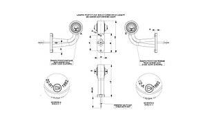 Диодно - выносной габаритный фонарь, круглый, HOR 51 (красно/белый) с кабелем 0,5 м, 12/24 V, рожок 90 гр, короткий, правый (P) или левый (L), фото 2