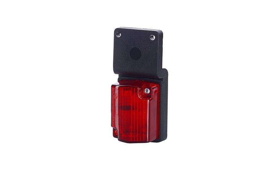 Маленький габаритный фонарь, красный, с рельефом и с кронштейном на винты