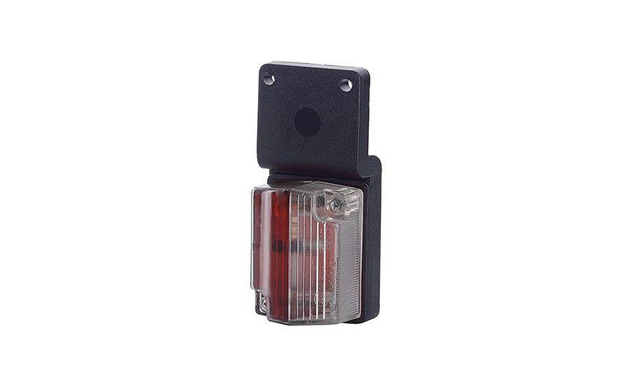 Маленький габаритный фонарь, красно-белый, с рельефом и подвеской на винты