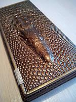 Кошелек женский  Крокодил кожаный, Золотой, фото 1