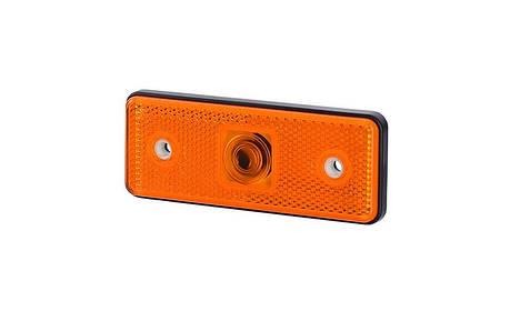 Габаритный, прямоугольный фонарь HOR 43, оранжевый, с отражателем , фото 2