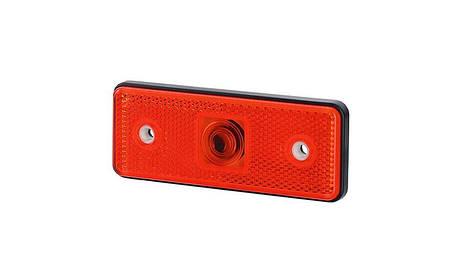 Габаритный, прямоугольный фонарь HOR 43, красный, с отражателем , фото 2