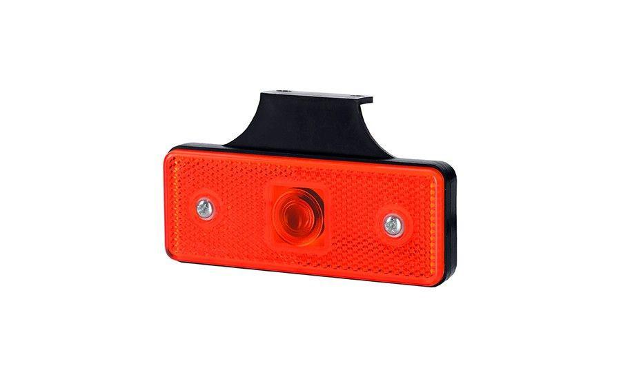Габаритный, прямоугольный фонарь HOR 43, красный, с отражателем и с кронштейном