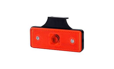 Габаритный, прямоугольный фонарь HOR 43, красный, с отражателем и с кронштейном , фото 2