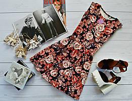 Красивое женское платье (юбка-солнце)  стильный принт: коралл розы на черном