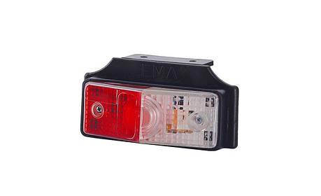 Габаритный, плоский фонарь, с кронштейном, красно-белый , фото 2