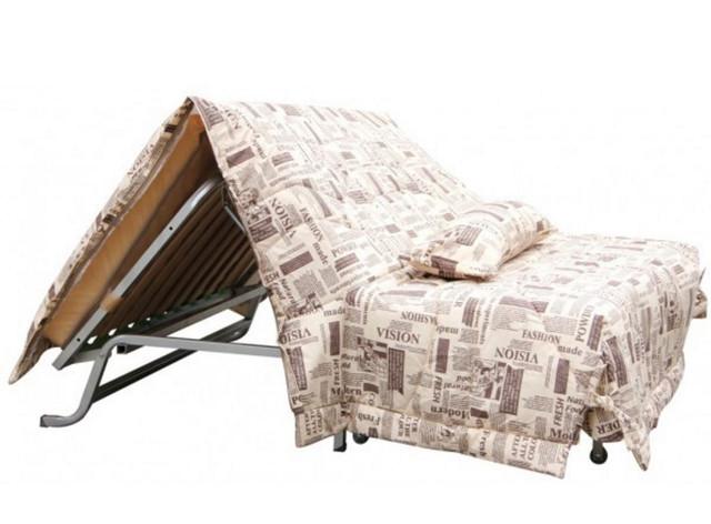 Диван-кровать СМС ткань Газета беж (Механизм Аккордеон)