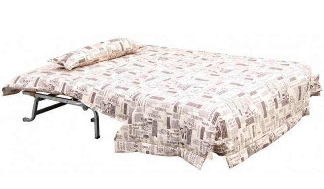 Диван-кровать СМС ткань Газета беж (Вид разложенный)