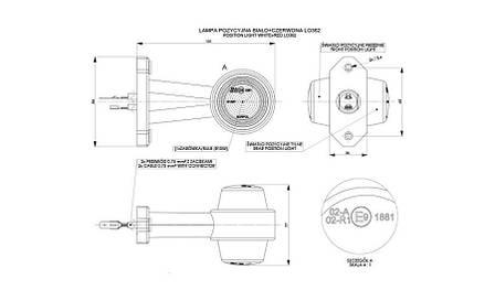 Габаритно - выносной фонарь HOR 50, на прямом, длинном рожке (красно-белый) , фото 2