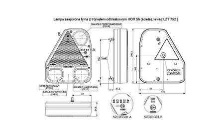 Треугольный задний комбинированный фонарь HOR 56, левый с противотуманным светом , фото 2