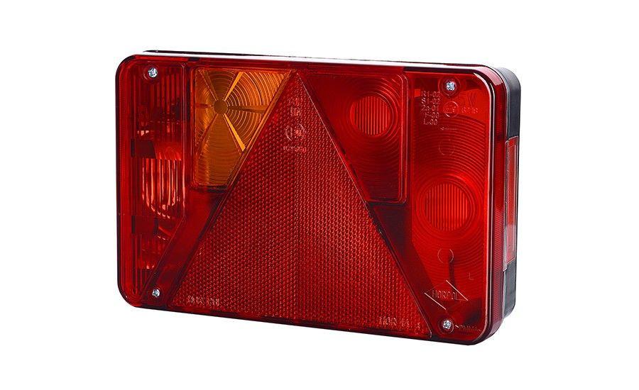 Задний левый комбинированный фонарь с треугольником, с противотуманным светом (межцентровое отверстие 70 мм), на винтах, лампочки 1xС5W, 3xР21W
