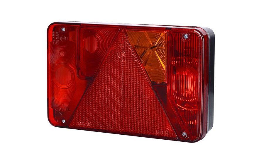 Задний правый комбинированный фонарь с треугольником, противотуманным светом (межцентровое отверстие 70 мм), на винтах