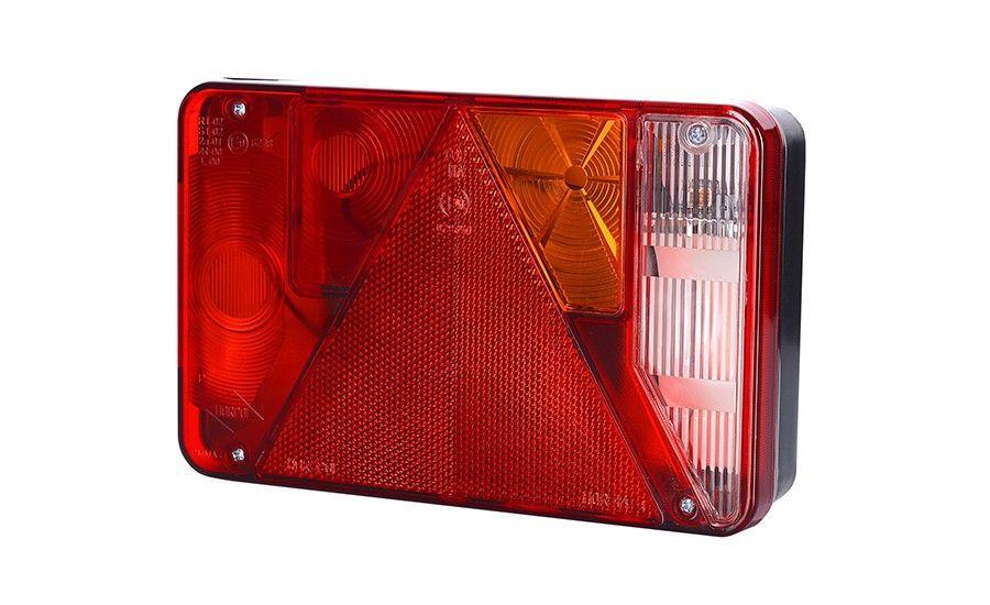 Задний правый комбинированный фонарь с треугольником, со светом заднего хода (межцентровое отверстие 70 мм), лампочки 1xС5W, 3xР21W