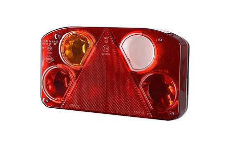 Задний комбинированный фонарь HOR 68, с треугольником, левый с противотуманным светом и светом заднего хода, без освещения номерного знака, фото 2