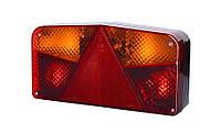 Задний, комбинированный фонарь с треугольником и двумя указателями поворота, правый со светом заднего хода (межцентровое отверстие 150,7 мм), лампочки