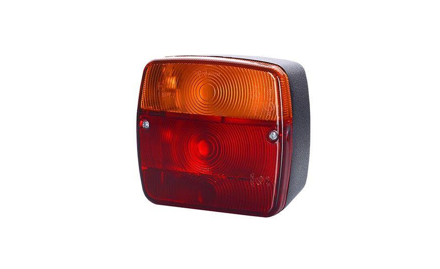 Задний комбинированный фонарь для прицепа, без освещения номерного знака на винтах, универсальный (межцентровое отверстие 45 мм), лампочки 2xР21W,