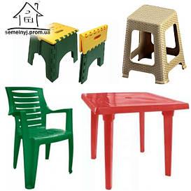 Стулья, табуреты и столы пластиковые