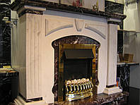 Портал для камина из натурального мрамора Rosso Levanto, Afyon white