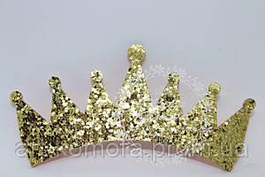 Корона из фома в глиттере, золотая. Размер 90 х 40 мм
