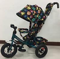 Детский трехколесный велосипед Tilly Trike (T-363-4 СЕРЫЙ/БИРЮЗА) с родительской ручкой