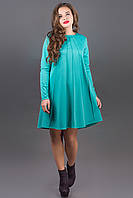 Модное трикотажное платье Ситти (синий) А-силуэта 44-52 размер, фото 1