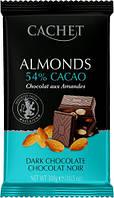 Черный Шоколад 53% какао с Миндалем CACHET DARK CHOCOLATE 53% COCOA & ALMONDS 300г, фото 1