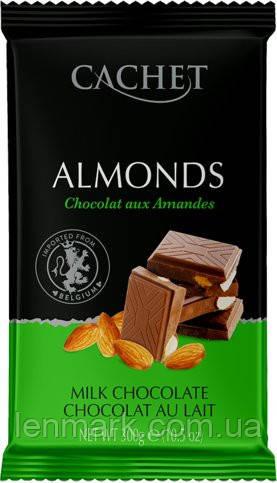 Молочный Шоколад с Миндалем CACHET MILK CHOCOLATE ALMONDS  300г