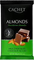 Молочный Шоколад с Миндалем CACHET MILK CHOCOLATE ALMONDS  300г, фото 1