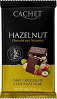 Черный Шоколад с фундуком CACHET DARK CHOCOLAT NOIR HAZELNUT 300г
