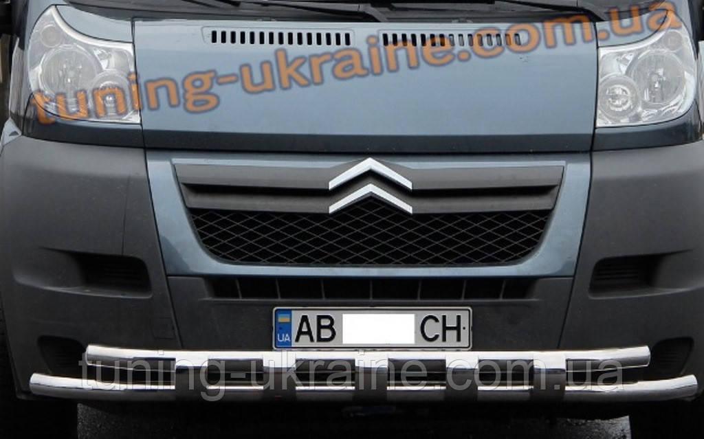 Дуга двойная передняя с клыками из нержавейки на Hyundai Tucson 2004-2009 - ООО Tuning Avto в Харькове