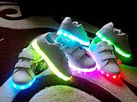 Белые кроссовки с подсветкой LED (р 30-35)