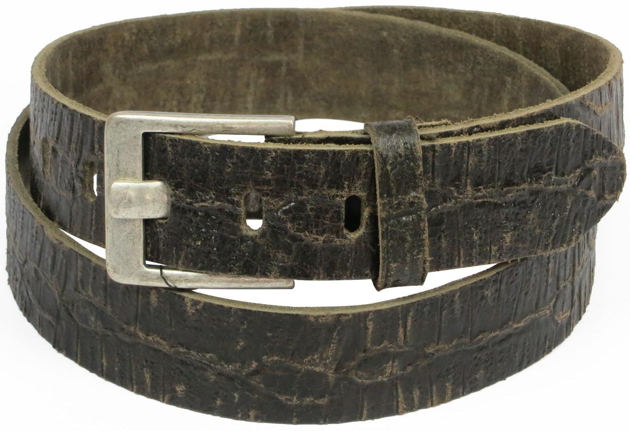 Мужской кожаный ремень под рептилию, Tom Tailor, Германия, 100075 коричневый, 3,5х118 см